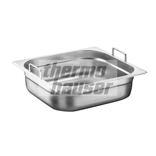 GN 2/3 container with foldable handles, stainless steel